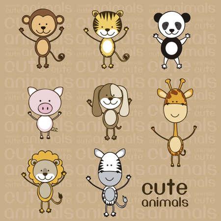 singes: Illustration d'un mignon de porc, le singe, le tigre, le lion, la girafe, le panda, le z�bre et le chien, illustration Illustration