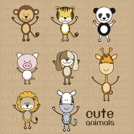 Illustration of a cute pig, monkey, tiger, lion, giraffe, panda, zebra and dog,  illustration Vector