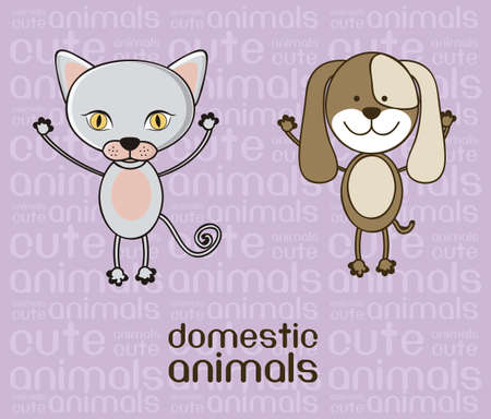 whole creature: Illustration of a cute cat and dog background, vector illustration