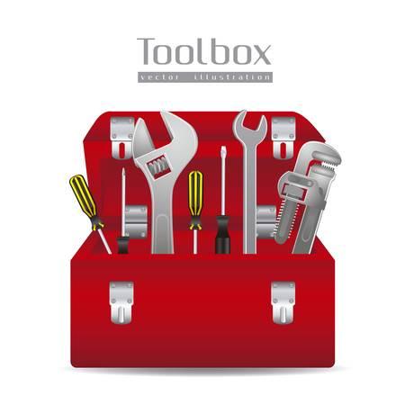 box cutter: Ilustraci�n de herramientas, con unas llaves de tubo, destornilladores, martillo y la caja de herramientas, ilustraci�n