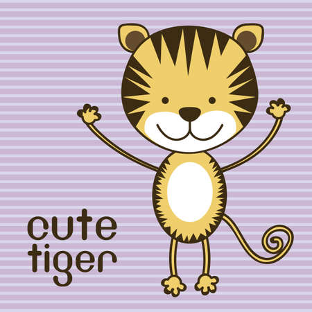 Illustration of a cute tiger background, illustration Vector