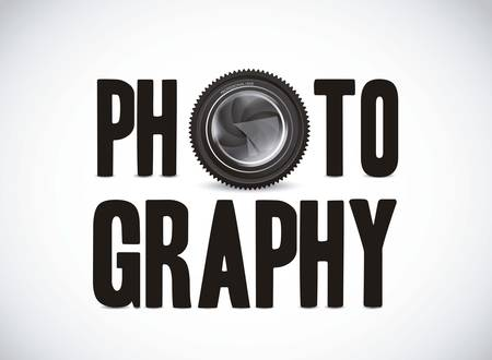 Illustration of photography with camera lens isolated on white background,  illustration