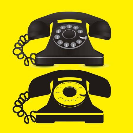 illustration of a rotary phone, black color, vector illustration Stock Vector - 14946070