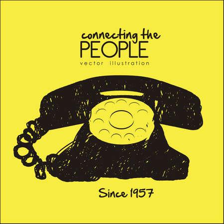 garabatos: ilustraci�n de un tel�fono rotatorio garabato, color negro, ilustraci�n vectorial