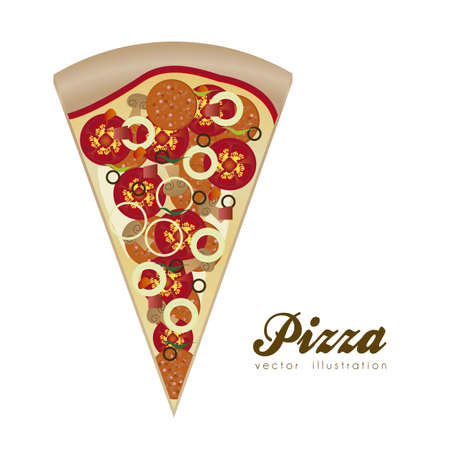 pizza slice: illustration of a pepperoni pizza isolated on white background, vector illustration