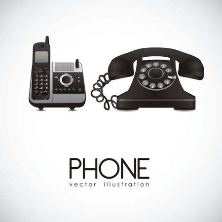 cordless phone: illustration of a rotary phone and a cordless phone, vector illustration