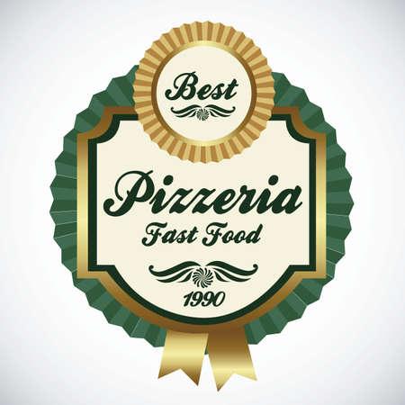 pizzeria label: vintage pizzeria label illustrations, in warm colors, vector illustration