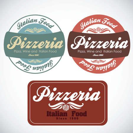 pizzeria label: vendimia pizzer�a ilustraciones de etiquetas, en colores c�lidos, ilustraci�n vectorial