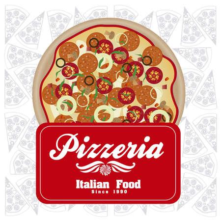 pizzeria label: vendimia pizzer�a ilustraciones de etiquetas con pizza, en colores c�lidos, ilustraci�n vectorial