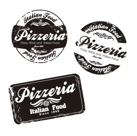pizzeria label: pizzeria ilustraciones de etiquetas, en colores blanco y negro, ilustraci�n vectorial