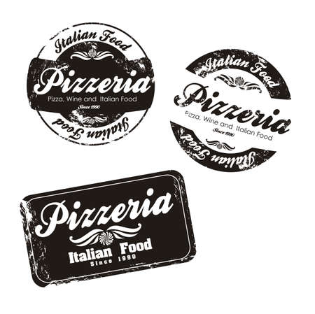 pizzeria label illustrations, in black and white colors, vector illustration  Vector