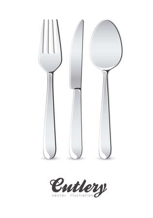 Illustration of cutlery, spoon, knife and fork, isolated on white background, vector illustration Vector