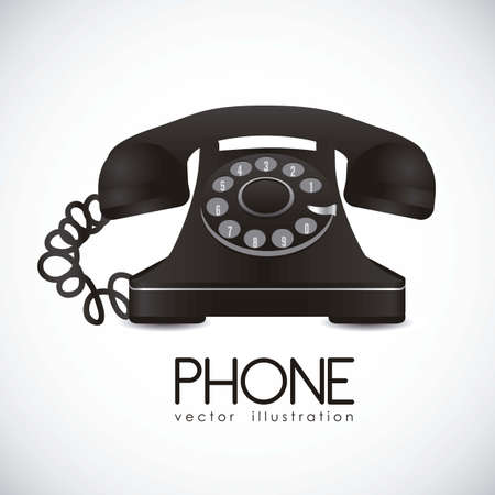 illustration of a rotary phone, black color, vector illustration Vector Illustration