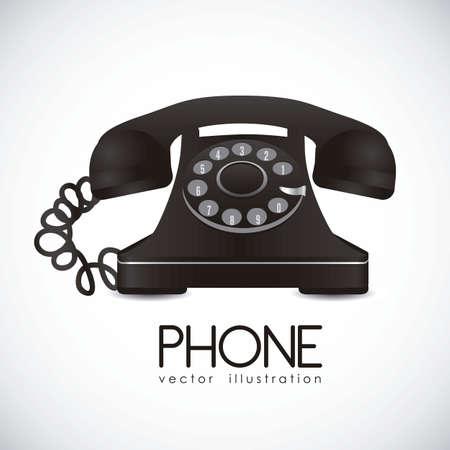 telecomunicaci�n: ilustraci�n de un tel�fono de disco, color negro, ilustraci�n vectorial