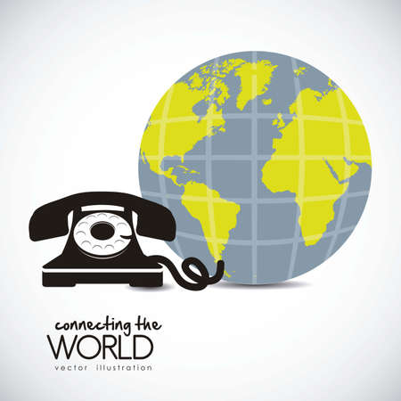 illustration of a rotary phone connected to the world, vector illustration Stock Vector - 14946357