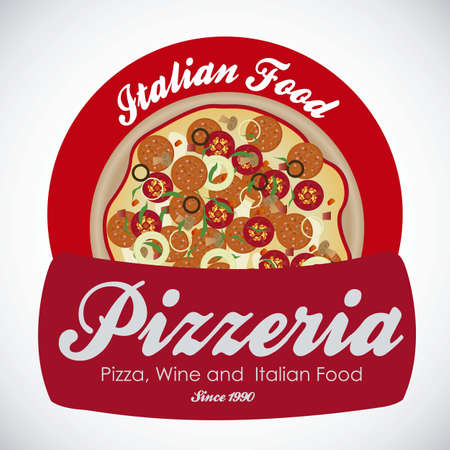pizzeria label: vendimia pizzer�a ilustraciones de etiquetas, con pizza, ilustraci�n vectorial Vectores