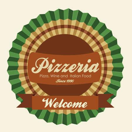 vintage pizzeria label illustrations, in warm colors, vector illustration Vector