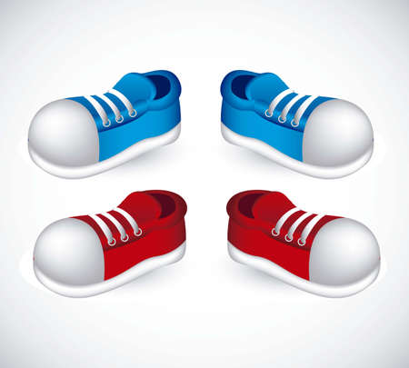running shoes: illustration of red and blue shoes with laces, vector illustration Illustration