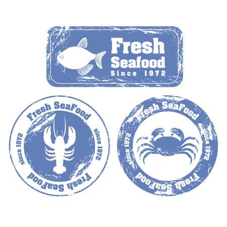 fished: Stamp illustration of sea animals, vector illustration