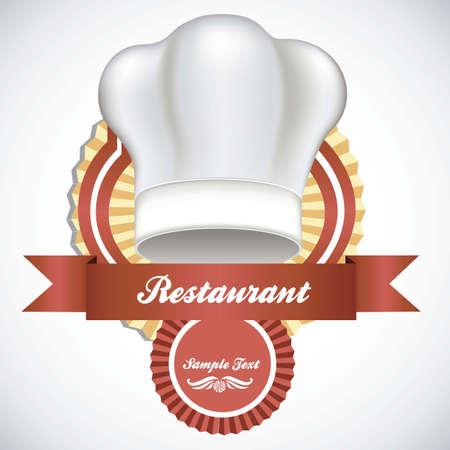 fine cuisine: illustrazione di un cappello da cuoco bianco, illustrazione vettoriale