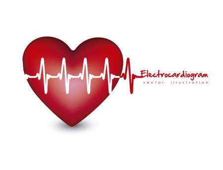 latidos del coraz�n: Ilustraci�n del coraz�n con latidos del coraz�n, electrocardiograma ilustraci�n vectorial,