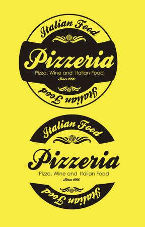 pizzeria label: Vintage Grunge pizzer�a ilustraciones etiqueta, ilustraci�n vectorial Vectores