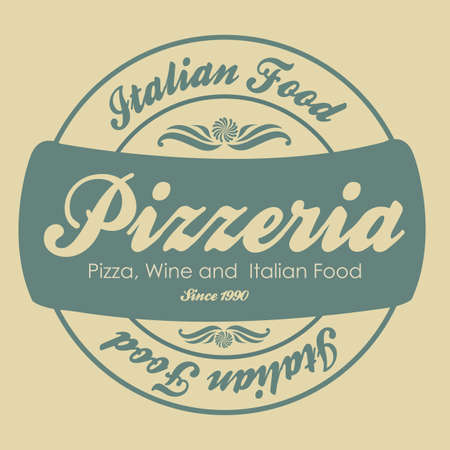 pizzeria label: vintage pizzeria label illustrations, in warm colors, vector illustration