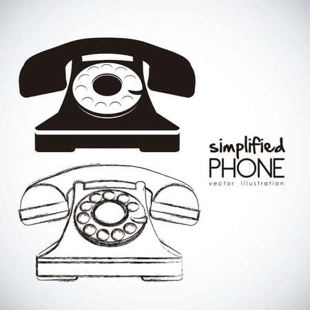 telefono antico: illustrazione di un telefono a disco, colore nero, illustrazione vettoriale Vettoriali