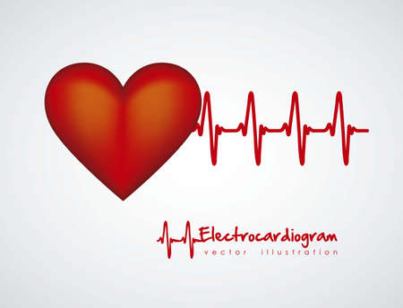 Illustration of heart with heartbeat, electrocardiogram, vector illustration Vector