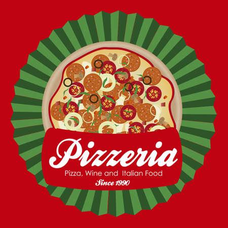 pizzeria label: pizzeria ilustraciones de etiquetas, con pizza, ilustraci�n vectorial