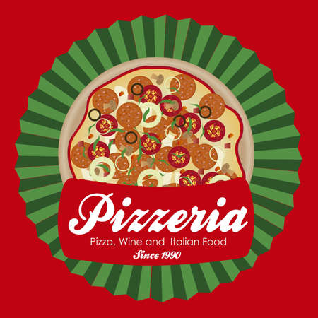 pizzeria label illustrations, with pizza, vector illustration   Vector
