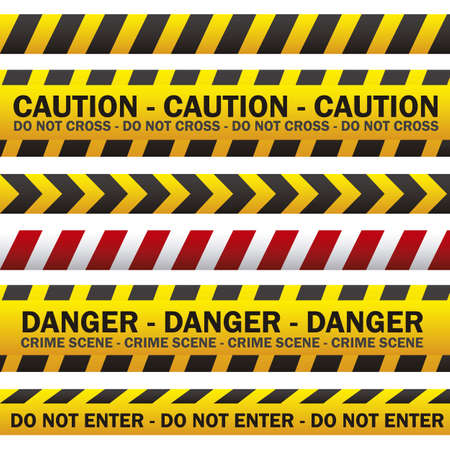 warning attention sign: illustration of police security tapes, yellow with black and red, vector illustration