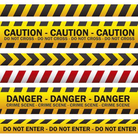cintas: ilustraci�n de cintas de seguridad de la polic�a, de color amarillo con negro y rojo, ilustraci�n vectorial Vectores