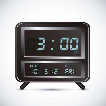 oversleep: illustration of digital clock, isolated on white background, vector illustration