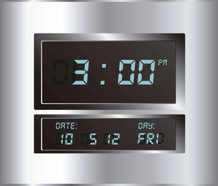 clock radio: ilustraci�n de reloj digital, aislado en el fondo blanco, ilustraci�n vectorial Vectores