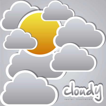 illustrazione di nuvole su un cielo nuvoloso, illustrazione vettoriale Vettoriali