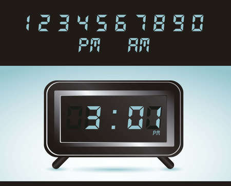 illustration of digital clock, isolated on blue background, vector illustration Ilustração
