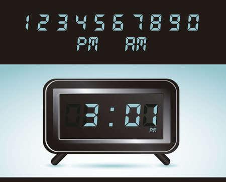 get up: illustrazione di orologio digitale, isolato su sfondo blu, illustrazione vettoriale Vettoriali