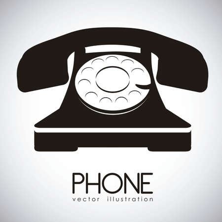 old office: illustration of a rotary phone, black color, vector illustration Illustration