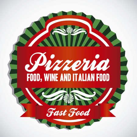 pizzeria label: ilustraciones pizzer�a de etiquetas, con colores c�lidos, ilustraci�n vectorial Vectores