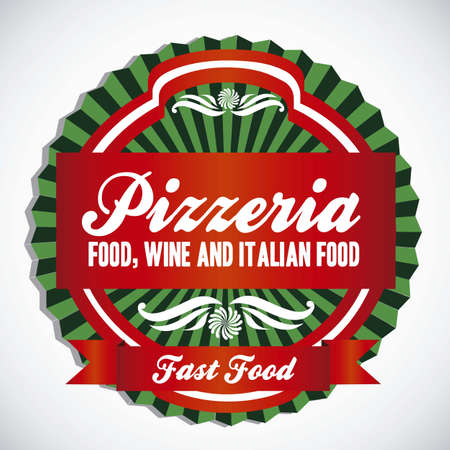 pizzeria label illustrations, in warm colors, vector illustration  Vector