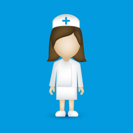 illustration of a nurse isolated on blue background, vector illustration Vector
