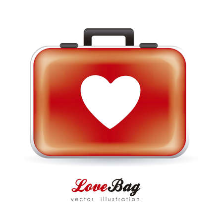 Illustration of heart suitcase, love bag, vector illustration Vector
