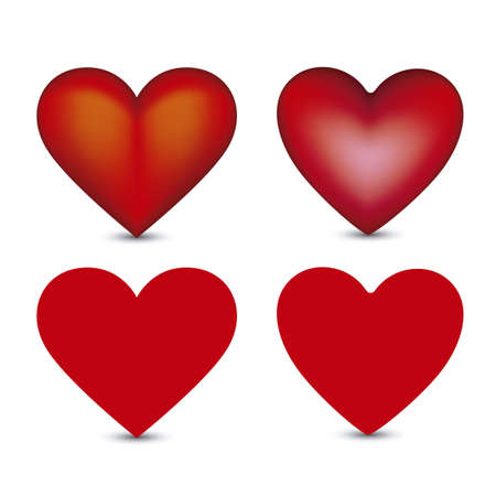 Illustration of different types of hearts isolated on white background, vector illustration Vector