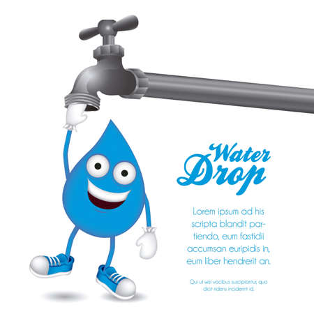 illustration of a drop of water hanging from a faucet, vector illustration Vector