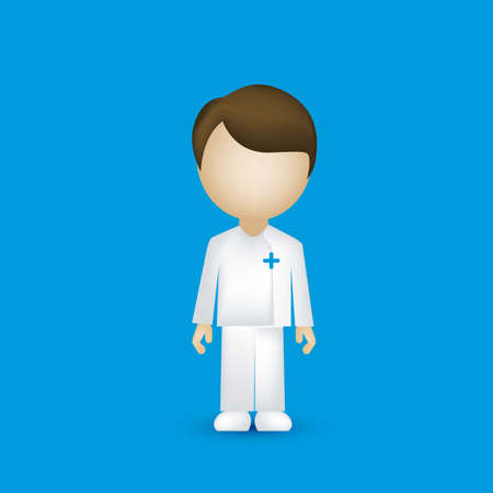 nurse uniform: illustration of a male nurse isolated on blue background, vector illustration