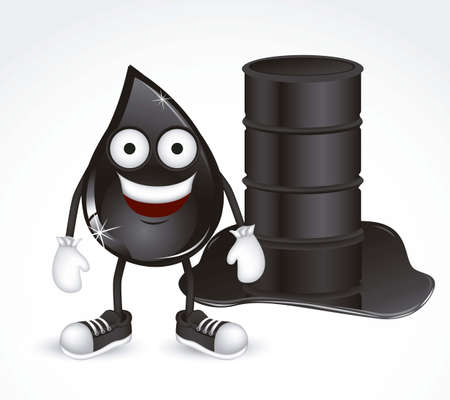 Illustration of petroleum drop with shoes and gloves, vector illustration Vector