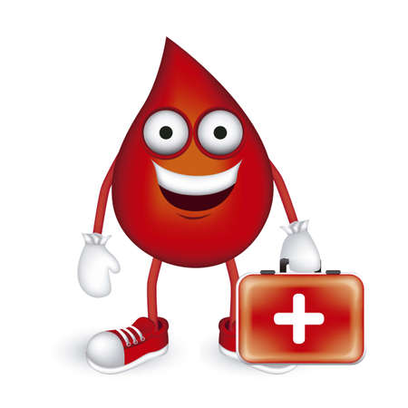donation: Illustration of blood drop with shoes and red medicine cabinet, vector illustration Illustration