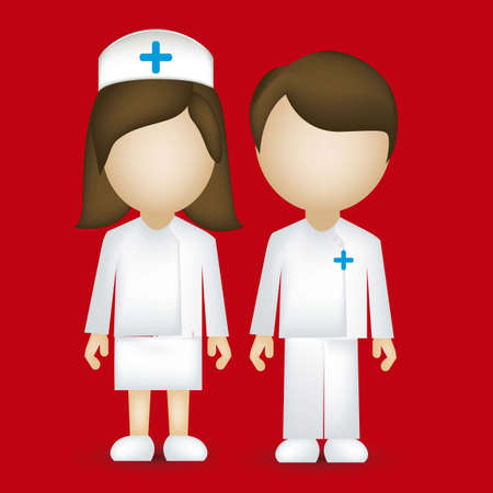 nurse: illustration of a male and female nurse isolated on blue background, vector illustration