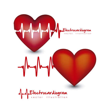 Illustration of different types of hearts with heart beat isolated on white background, vector illustration Vector